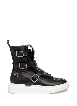 Chunky outsole stud leather sneaker boots