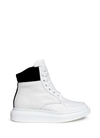 Chunky outsole suede collar leather high top sneakers