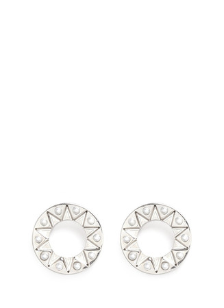 Circle Aztec pearl magnetic earrings
