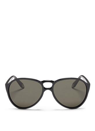 Circular double bridge acetate aviator sunglasses