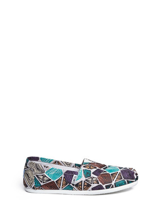 Classic abstract print canvas slip-ons