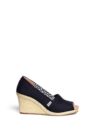 Classic canvas open toe wedges