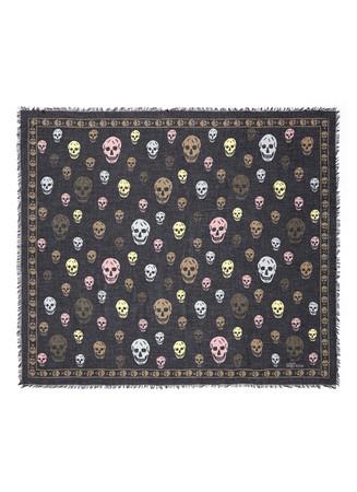 Classic skull silk-modal scarf