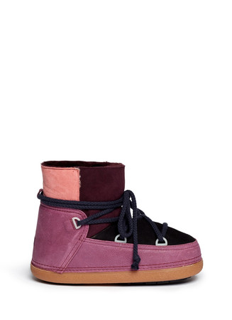 'Classic' suede patchwork sheepskin shearling moon boots