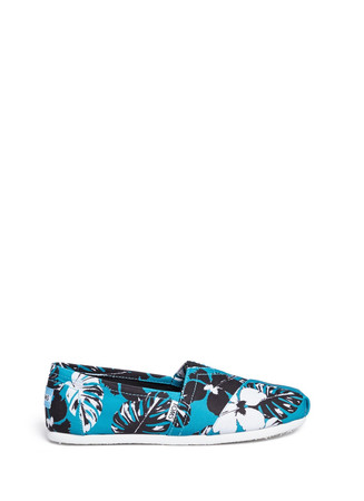 Classic tropical floral print canvas slip-ons