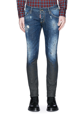 'Clement' splash paint distressed slim fit jeans