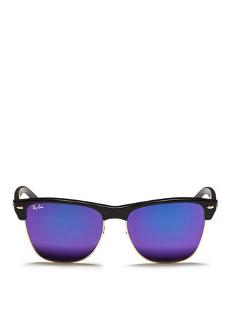 'Clubmaster Oversized' matte plastic browline mirror sunglasses