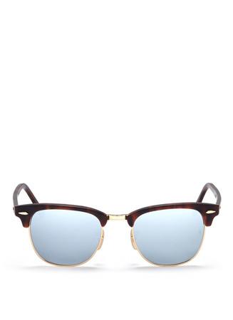 'Clubmaster' matte acetate browline mirror sunglasses