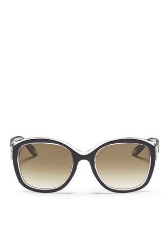 Colourblock acetate square sunglasses