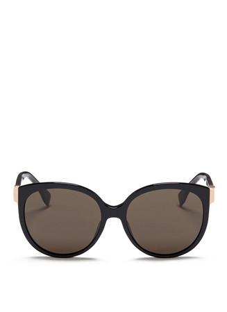 Colourblock corner acetate cat eye sunglasses