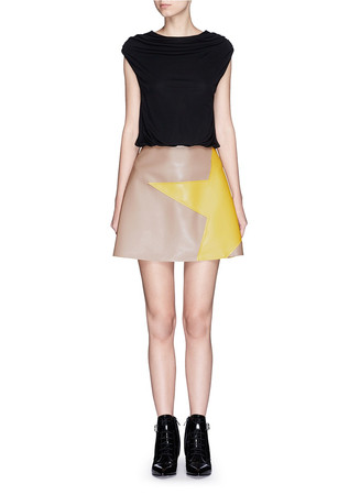 Colourblock crepe faux leather star patchwork dress