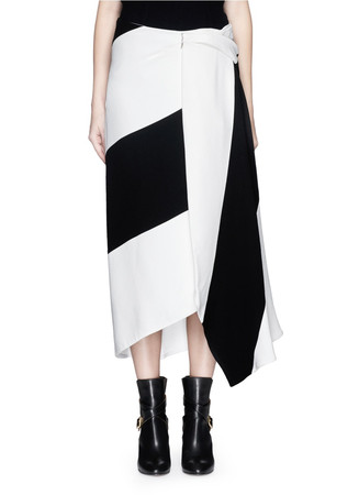 Colourblock drape skirt