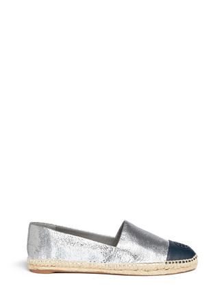 Colourblock leather espadrille slip-ons