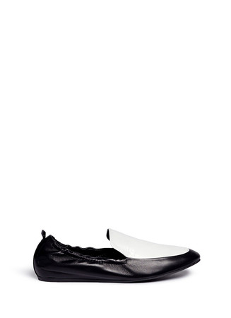 Colourblock leather loafer slippers