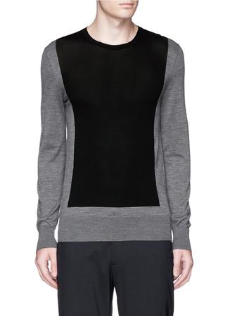 Colourblock mixed knit sweater