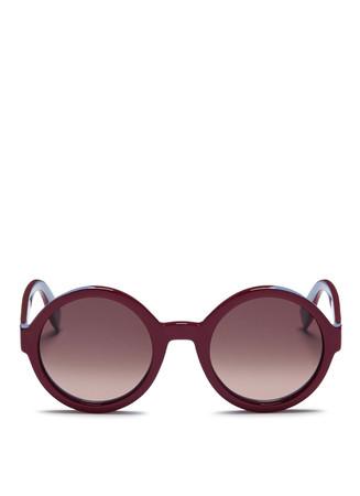 Colourblock round acetate sunglasses