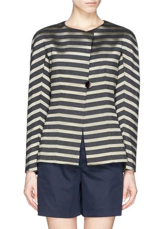 Colourblock stripe collarless jacket