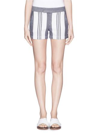 Colourblock stripe hopsack shorts
