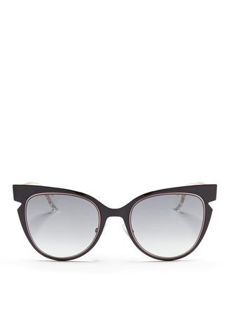 Colourblock temple acetate cat eye sunglasses