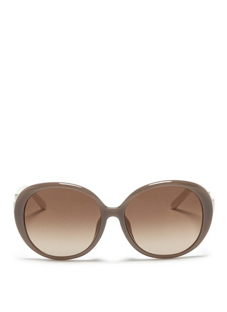 Colourblock temple acetate round sunglasses