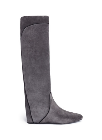 Concealed wedge heel grosgrain trim suede boots