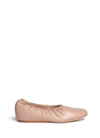 Concealed wedge heel pleated leather flats