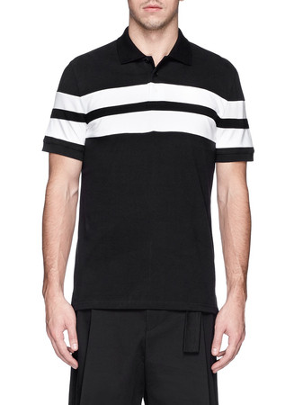 Contrast band cotton polo shirt