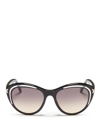 Contrast clear stripe acetate cat eye sunglasses