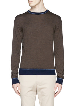 Contrast collar Merino wool sweater