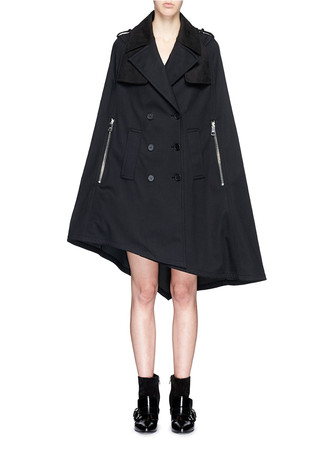 Contrast collar asymmetric hem military cape