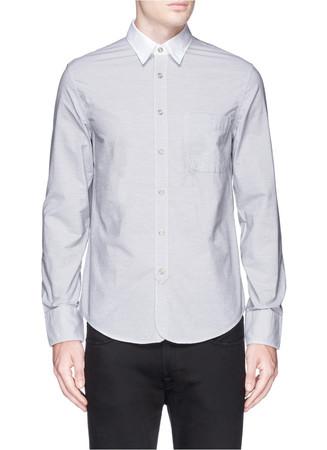 Contrast collar cotton shirt