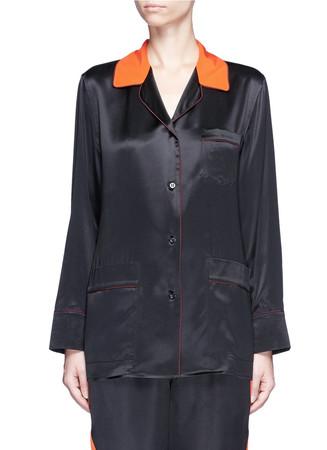 Contrast collar silk satin pyjama shirt