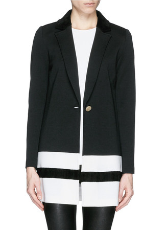 Contrast collar stripe hem Milano knit jacket