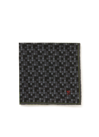Contrast grid check wool-silk pocket square