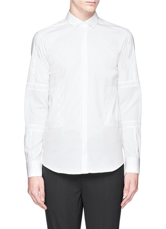 Contrast panel cotton poplin tuxedo shirt