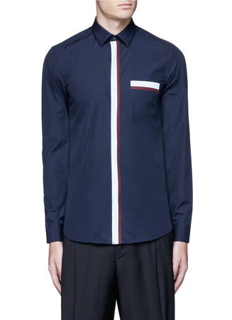 Contrast placket trim cotton shirt