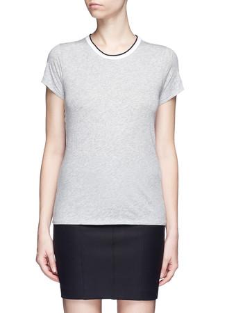 Contrast rib crew neck T-shirt