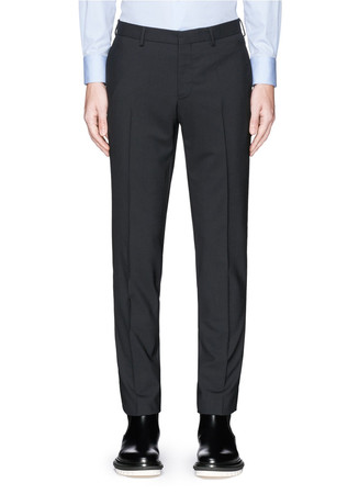 Contrast side trim wool pants
