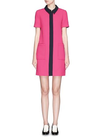 Contrast trim wool crepe shirt dress