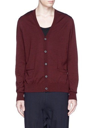 Contrast yoke and elbow patch cardigan