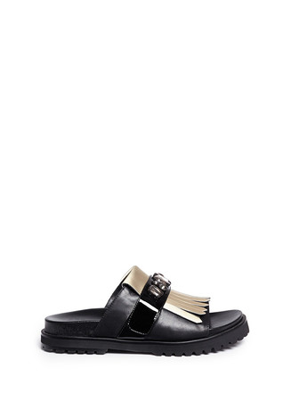 'Corey' metallic fringe strap leather sandals