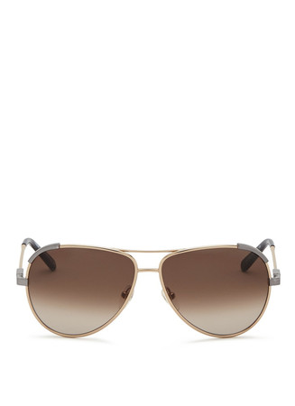 Corner trim metal aviator sunglasses