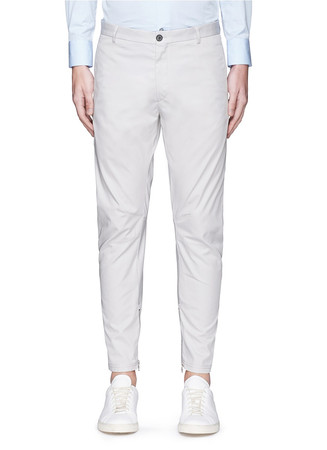 Cotton gabardine biker pants