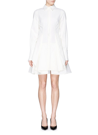 Cotton piqué flare shirt dress