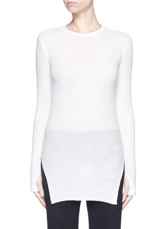 Cotton-angora turtleneck sweater