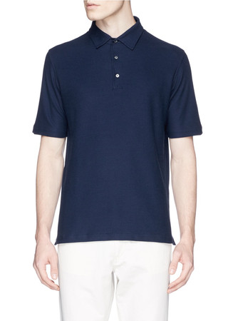 Cotton-silk piqué polo shirt