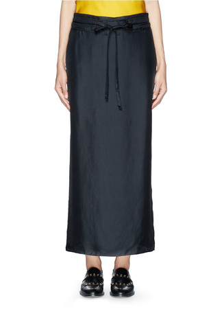 'Cove' drawstring waist silk faille skirt
