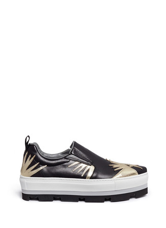 Cowboy graphic appliqué leather flatform slip-ons