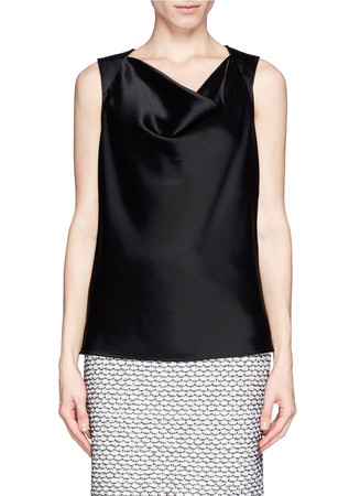 Cowl neck liquid satin sleeveless top