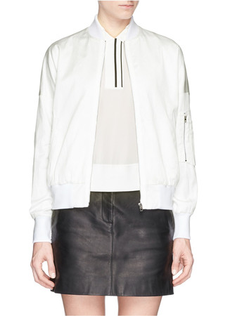 'Crinkled Greta' cotton sateen bomber jacket
